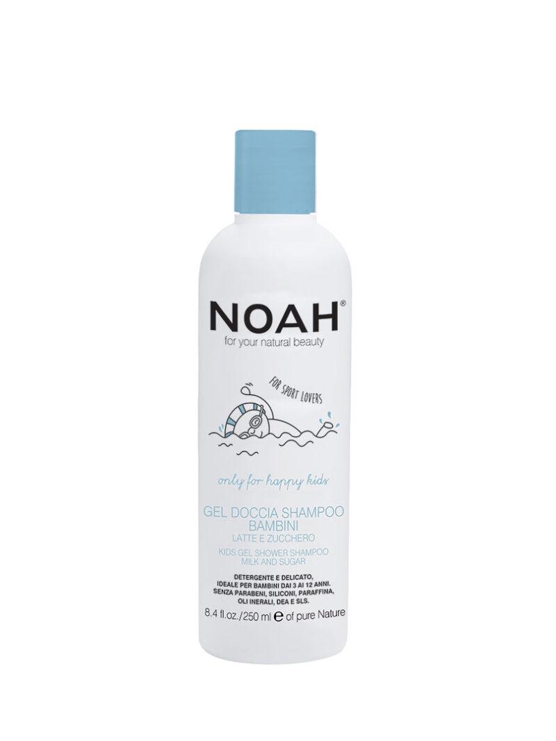 Gel de duș și șampon cu lapte & zahăr pentru copii , Noah, 250 ml