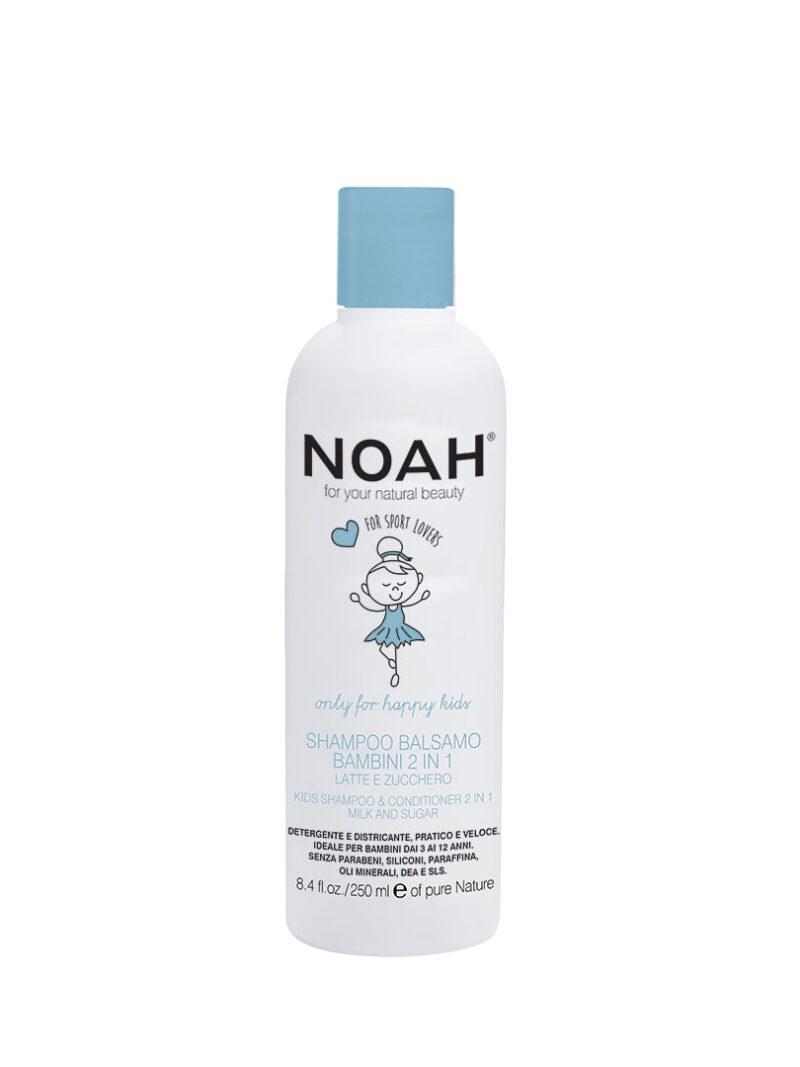 Șampon & balsam 2 in 1 cu lapte & zahăr pentru copii , Noah, 250 ml